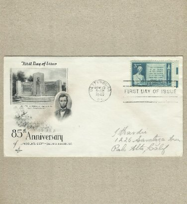 UNITED STATES LINCOLN GETTYSBURG ADDRESS 1948 STAMP FIRST DAY COVER