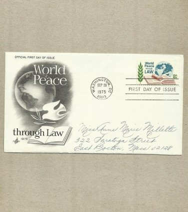 UNITED STATES WORLD PEACE THROUGH LAW 1975 STAMP FIRST DAY COVER