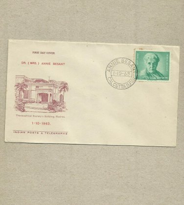 INDIA ANNIE BESANT STAMP FIRST DAY COVER 1963