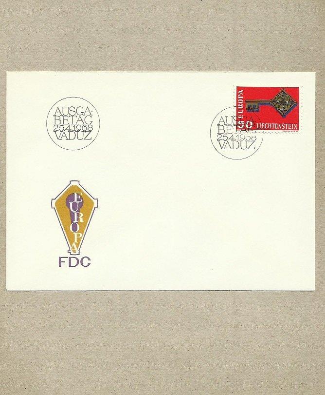 LIECHTENSTEIN EUROPA FIRST DAY COVER FDC 1968