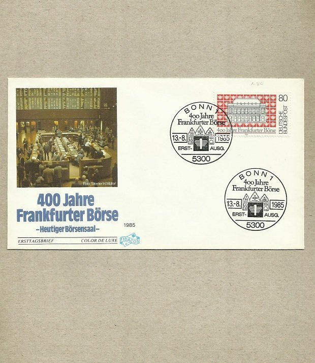 GERMANY FRANKFURTER BORSE FRANKFURT STOCK EXCHANGE FIRST DAY COVER 1985