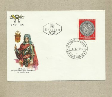 AUSTRIA 300 YEARS LEOPOLD FRANZENS UNIVERSITY INNSBRUCK STAMP FIRST DAY COVER 1970
