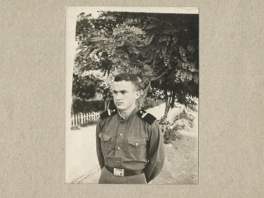 SOVIET SOLDIER PHOTOGRAPH WITH PERSONAL MESSAGE DECEMBER 1957 ZAPORIZHIA