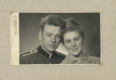 SOVIET SOLDIER AND WIFE PHOTOGRAPH WITH PERSONAL MESSAGE MAY 1963 KALININGRAD