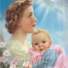VINTAGE BABY MOTHERS DAY LOVE SUN RAY CANVAS ART PRINT