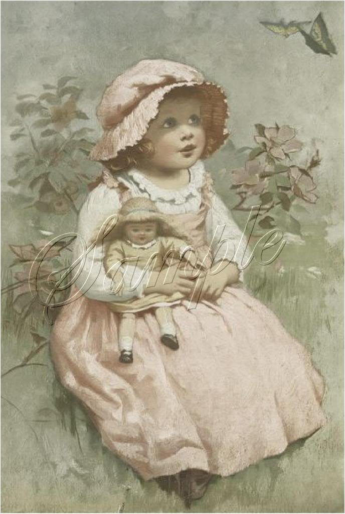 VINTAGE GIRL ANTIQUE DOLL BUTTERFLY GARDEN CANVAS PRINT