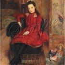 VINTAGE GIRL ANTIQUE DOLLS RED DRESS CANVAS ART
