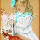 VINTAGE CHILD GIRL ANTIQUE DOLL PASTEL CANVAS ART PRINT