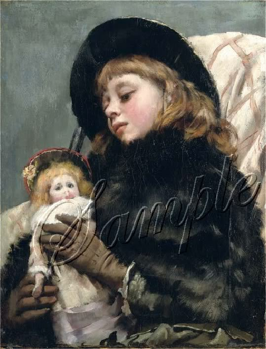VICTORIAN GIRL ANTIQUE DOLL WINTER DRESS CANVAS PRINT