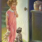 VINTAGE CHILD GIRL CURLS PUPPY COOKIES BUNNY CANVAS ART
