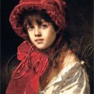 VICTORIAN CHILD GIRL RED HAT BONNET CANVAS ART PRINT