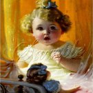VINTAGE GIRL CURLS ANTIQUE DOLL BRASS BED CANVAS PRINT
