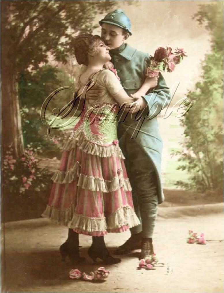 ART DECO LOVERS KISS SOLDIER ROMANCE CANVAS ART LARGE