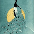 ART DECO PEACOCK BIRD MOON ILLUSTRATION CANVAS PRINT