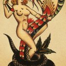 VINTAGE TATTOO NUDE PINUP GIRL SERPENT CANVAS PRINT-BIG