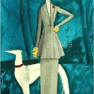 ART DECO COUTURE LADY BORZOI DOG CANVAS ART PRINT LARGE