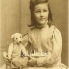 ANTIQUE TEDDY BEAR GIRL CHILD PHOTO CANVAS PRINT- LARGE