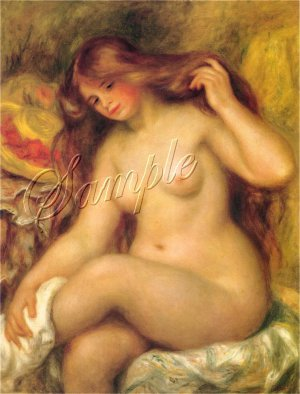 VINTAGE BATHING NUDE BEAUTY REDHEAD CANVAS ART PRINT