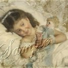VICTORIAN GIRL DOLL LACE BED SHABBY CANVAS ART PRINT