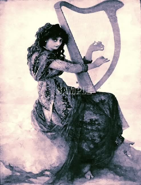 VINTAGE WITCH WICCA HARP MUSIC BLACK MAGIC CANVAS PRINT