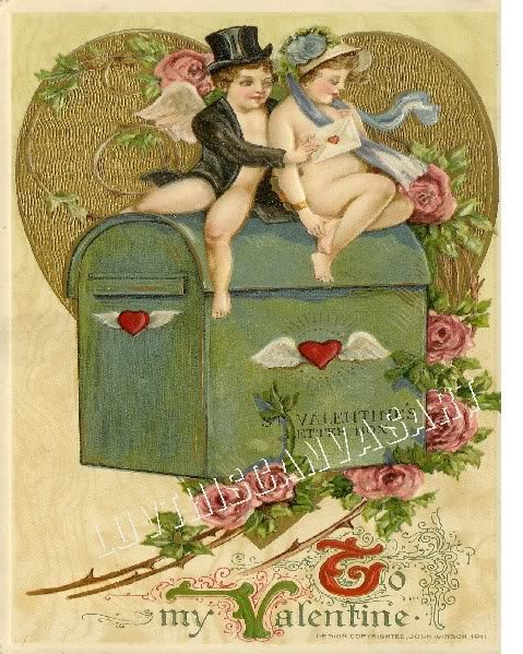 VINTAGE VALENTINE CUPID HEARTS LOVE CARD CANVAS  PRINT