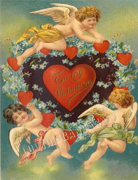 VINTAGE VALENTINE CARD CUPID HEARTS LOVE CANVAS  PRINT
