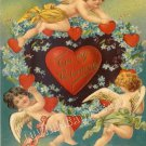 VINTAGE VALENTINE CARD CUPID HEARTS LOVE CANVAS  PRINT