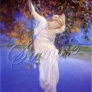 ART DECO LADY SWING GARDEN PARRISH CANVAS ART PRINT