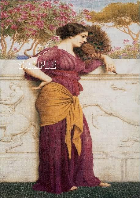 VICTORIAN LADY PEACOCK FAN GODWARD CANVAS ART PRINT