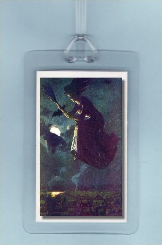 VINTAGE PRETTY WICCA WITCH HALLOWEEN ART-2 LUGGAGE TAGS