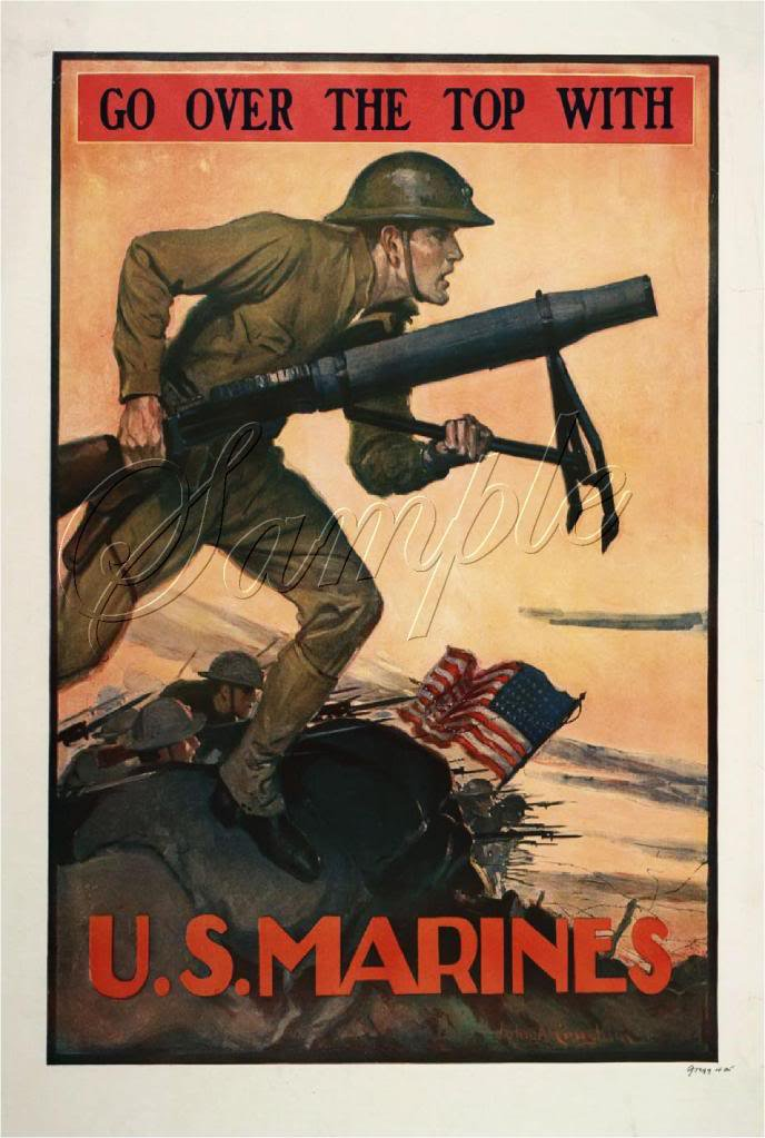 VINTAGE US MARINES SOLDIERS RECRUITMENT CANVAS ART- BIG