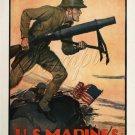 VINTAGE US MARINES SOLDIERS RECRUITMENT CANVAS ART- BIG