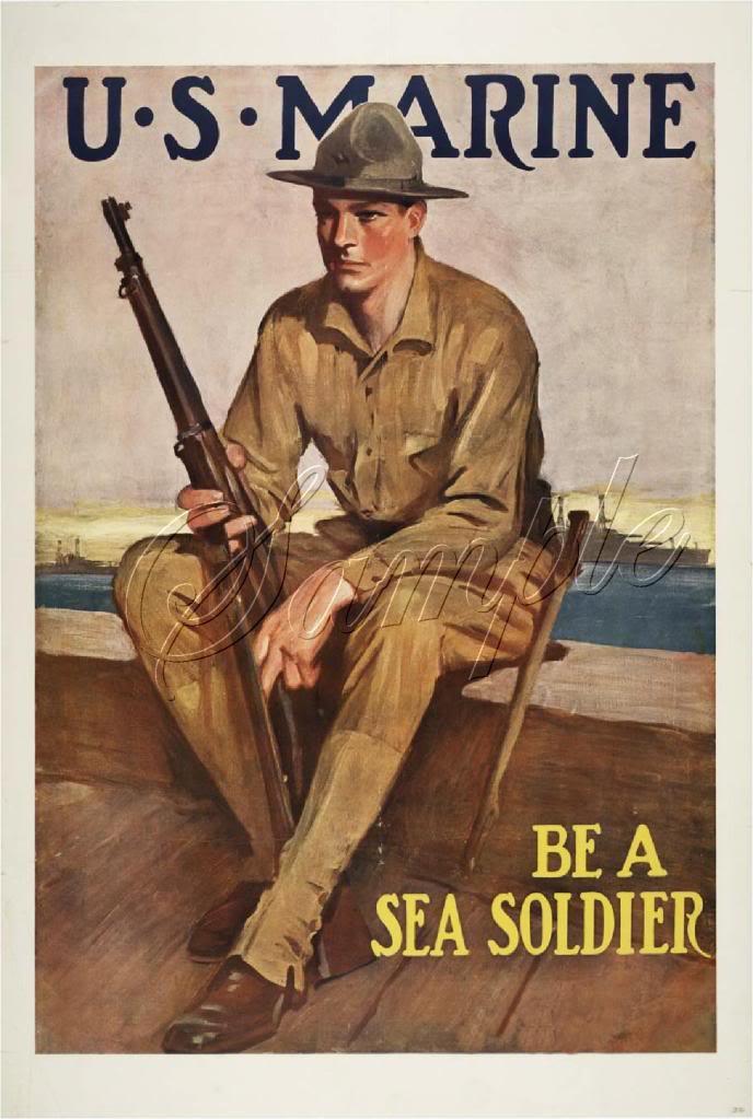 WWII US MARINES SEA SOLDIER RECRUITMENT CANVAS ART- BIG