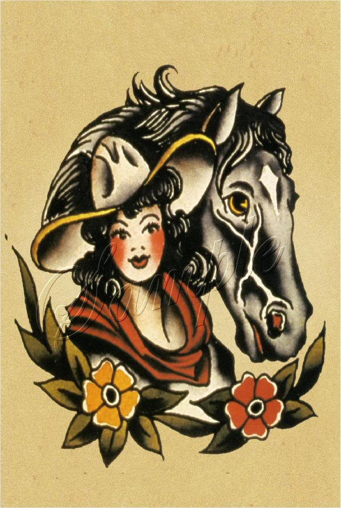 VINTAGE TATTOO WESTERN COWGIRL HORSE CANVAS ART LARGE