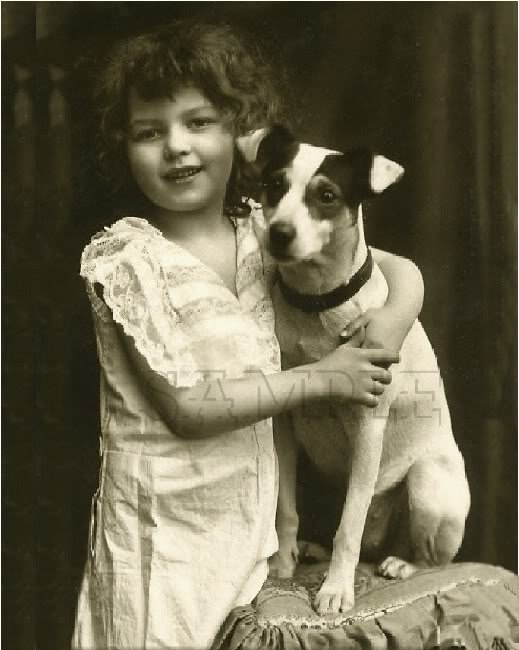 VINTAGE GIRL JACK RUSSELL DOG PHOTO CANVAS ART LARGE