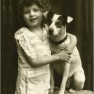 VINTAGE GIRL JACK RUSSELL DOG PHOTO CANVAS ART LARGE