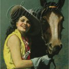 VINTAGE WESTERN COWGIRL HORSE  PIN-UP CANVAS ART PRINT