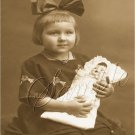 VINTAGE GIRL BOW ANTIQUE DOLL PHOTO CANVAS ART PRINT