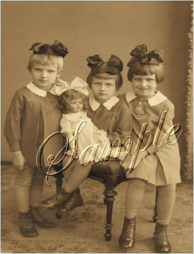VINTAGE GIRL SISTERS BOWS ANTIQUE DOLL PHOTO CANVAS ART