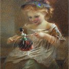 VINTAGE GIRL ANTIQUE DOLL PEACOCK FEATHER CANVAS ART