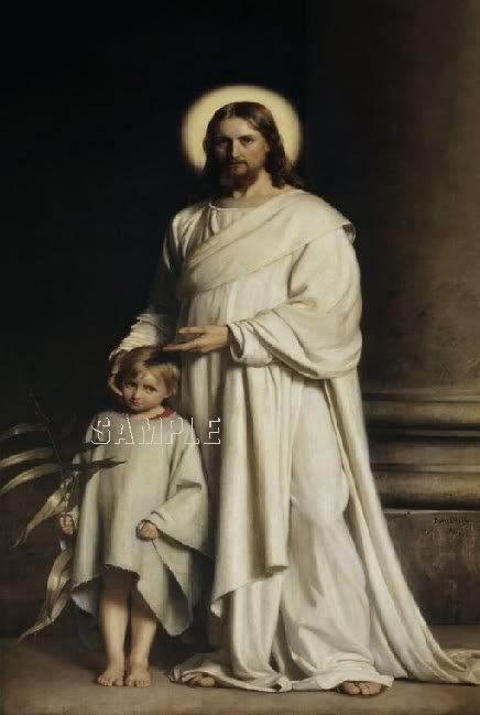 VINTAGE CHRIST CHILD RELIGIOUS CANVAS ART PRINT- LARGE