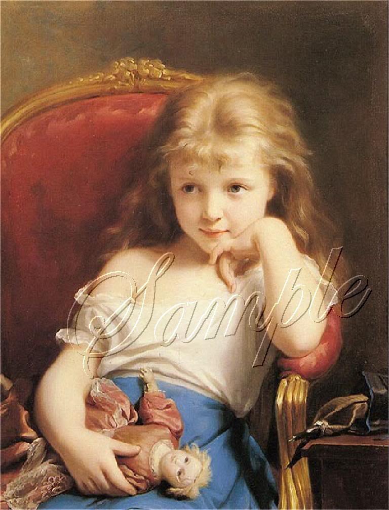 VINTAGE CHILD GIRL ANTIQUE DOLL CANVAS ART PRINT LARGE