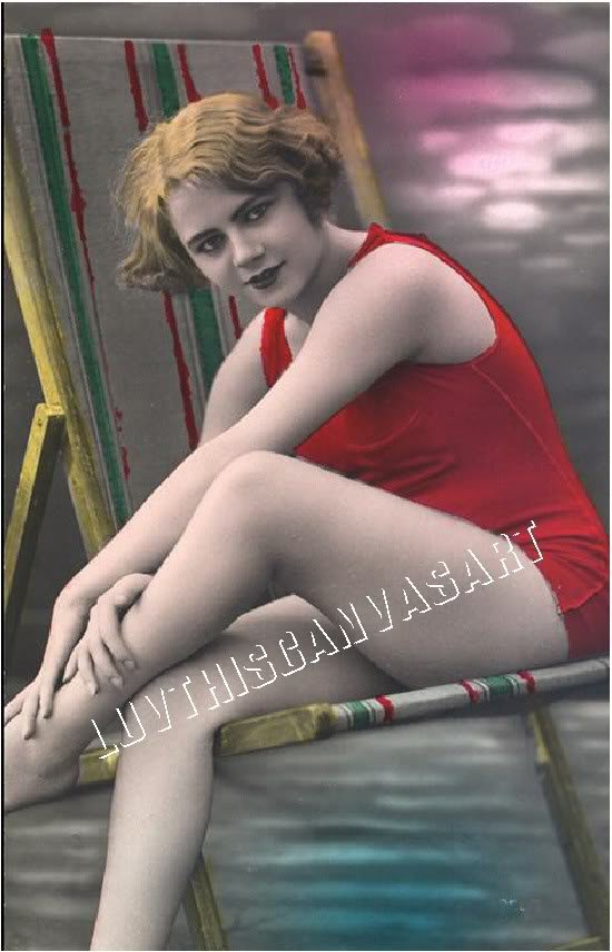 VINTAGE FRENCH RISQUE BATHING BEAUTY PHOTO CANVAS PRINT
