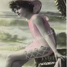 VINTAGE FRENCH BATHING BEAUTY SHABBY CANVAS ART PRINT
