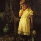VICTORIAN GIRL SAD BROKEN ANTIQUE DOLL CANVAS ART PRINT