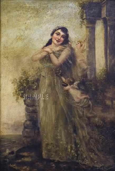 VINTAGE LADY ANGEL CUPIDS GARDEN CANVAS ART PRINT