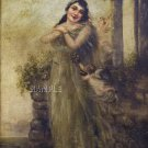 VINTAGE LADY ANGEL CUPIDS GARDEN CANVAS ART PRINT