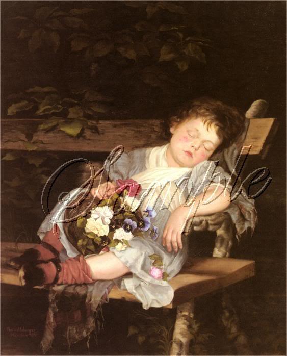VINTAGE CHILD GIRL SLEEP PANSIES FLOWERS CANVAS ART BIG