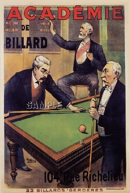 VINTAGE FRENCH BILLIARDS POSTER CANVAS ART PRINT-LARGE