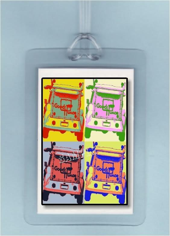 POP ART GOOD HUMOR ICE CREAM TRUCK - 2 LUGGAGE TAGS